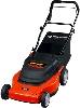 Black & Decker CMM1000 cordless electric lawnmower (ours, older, is green, not orange)